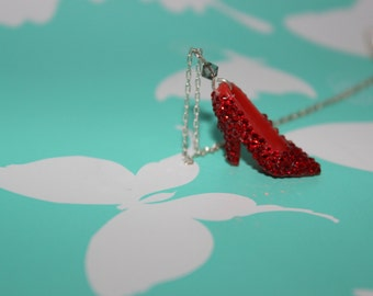 Dorothy Necklace - Crystal Doll Shoe Red High Heel Necklace