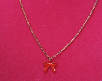 Little Red Vintage Bow Necklace