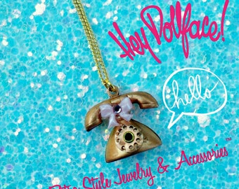 Vintage Telephone Charm Necklace - Hello Dollface Necklace