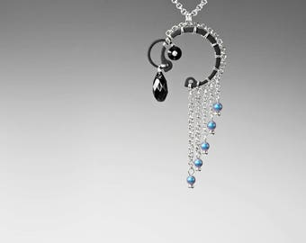 Black Swarovski Crystal Industrial Pendant, Iridescent Light Blue Pearls, Swarovski Necklace, Statement Pendant, Wire Wrapped Callisto