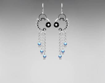 Black Swarovski Crystal Earrings, Iridescent Light Blue Pearls, Swarovski Earrings, Bride, Statement Pendant, Wire Wrapped Callisto II