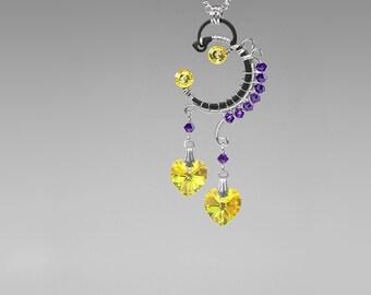 Purple and Yellow Swarovski Crystal Pendant, Swarovski Necklace, Unique Jewelry, WIre Wrapped Pendant by Youniquely Chic, Solar Flare v2