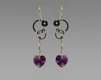 Amethyst Swarovski Crystal Earrings, Swarovski Earrings, Industrial Jewelry, Purple Earrings, Space Jewelry, Wedding Jewelry, Saturn II v6