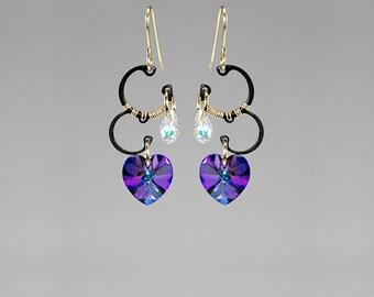 Heliotrope Swarovski Crystal Earrings, Industrial Jewelry, Iridescent Crystal, Crystal Ab, Purple Crystal, Blue Crystal, Jupiter II v7