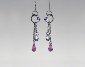 Purple Swarovski Crystal Earrings, Industrial Jewelry, Amethyst Swarovski Crystals, Tanzanite Swarovski Crystals, Wire Wrapped, Fenrir II v8