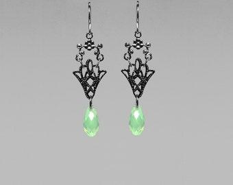 Swarovski Crystal Earrings with love Chrysolite Opal Crystals, Gunmetal Earrings, Drop Earrings, Statement Earrings, Unique Jewelry