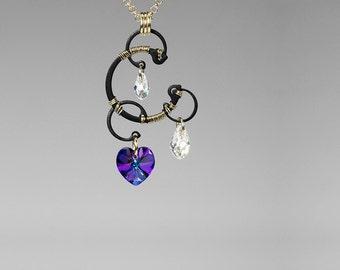 Heliotrope Swarovski Crystal Pendant, Industrial Jewelry, Iridescent Crystal, Swarovski Necklace, Purple Crystal, Blue Crystal, Jupiter v7