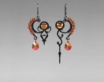 Steampunk Earrings with Astral Pink Swarovski Crystals, Swarovski Earrings, Asymmetrical Earrings, Statement Earrings, Bridal, Urania II v8