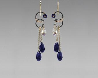 Blue Swarovski Crystal Earrings, Industrial Earrings, Indigo and Crystal Ab Swarovski, Statement Earrings, Bridal Jewelry, Titan II v12