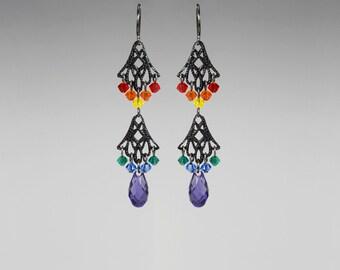 Rainbow Swarovski Crystal Earrings, Gunmetal, Colorful Earrings, Swarovski Earrings, Pride Jewelry, Sparkly Crystal Jewelry, Fancy