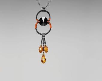Swarovski Crystal Industrial Pendant, Topaz Crystals, Swarovski Necklace,  Fall Colors, Industrial Jewelry, Bride Jewelry, Galatea v6