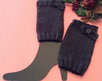 Charcoal Boot Toppers/Dark Gray Boot Cuffs/Bow Boot Cufsf/Feminine Boot Topper/Feminine Boot Cuff/Gift for Her/Boot Topper/London Boot Cuffs