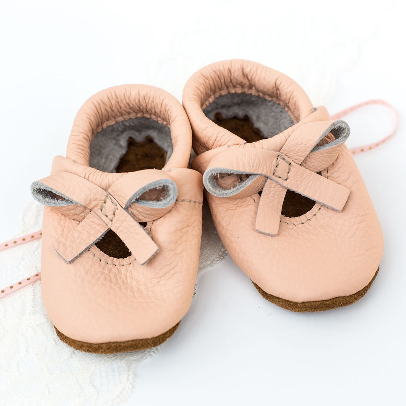 peach ballet bow flats soft soled leather shoes baby and toddler //free shipping in usa// starry knight design