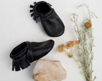 BASICS// Black Fringe Soft Soled Leather Moccasins Shoes Baby and Toddler // Starry Knight Design