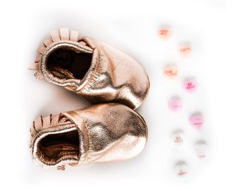 Rose Gold Moccs Fringe Soft Soled Leather Moccasins Shoes Baby and Toddler// Starry Knight Design