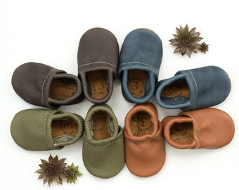 BASIC//LOAFERS Iron, Denim, Sienna, Moss Soft Soled Leather Shoes Baby and Toddler// Starry Knight Design