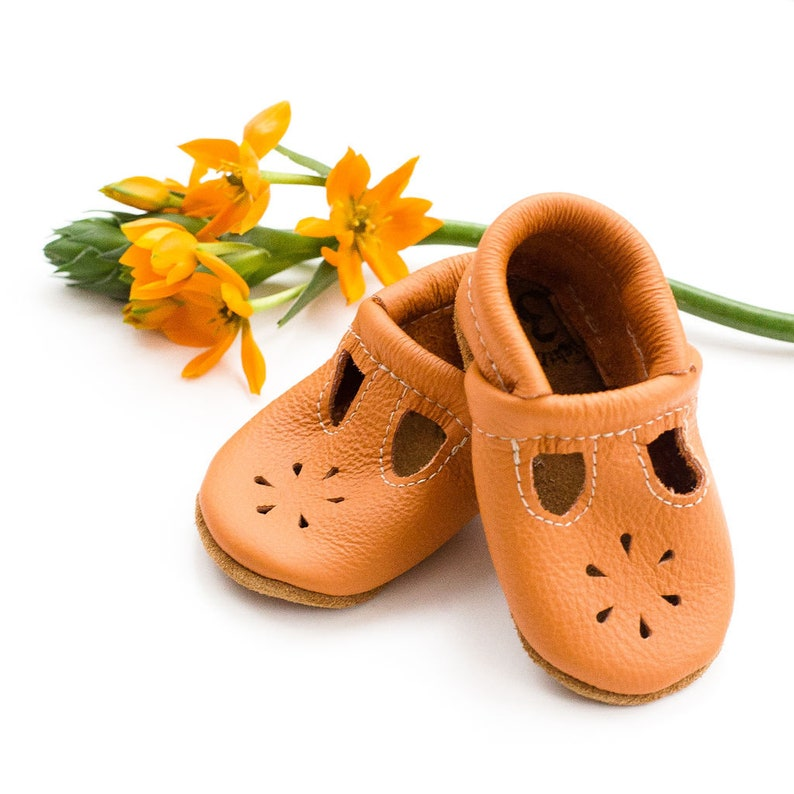 db983a16093eb Apricot T-STRAPS Soft Soled Leather Shoes Baby and Toddler // Starry Knight  Design