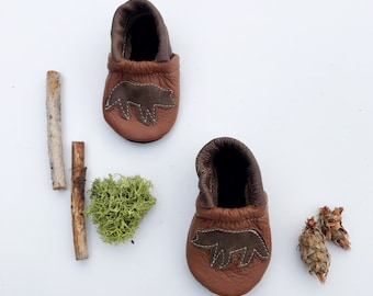 Grizzly Bear Soft Soled Leather Shoes Slippers Baby and Toddler// Starry Knight Design