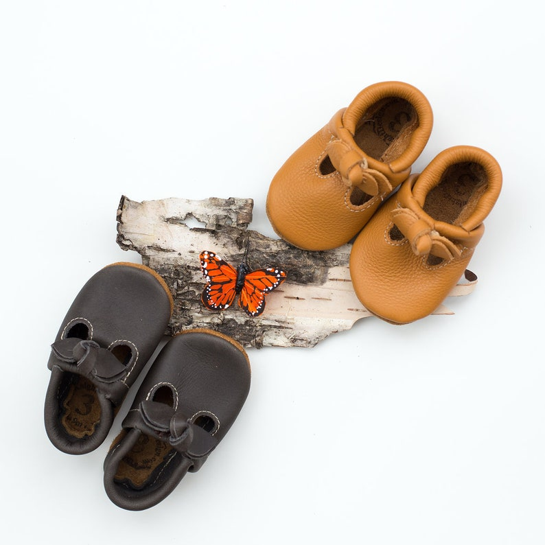 f398fd7df0149 BOW Iron & Honey T-STRAPS Soft Soled Leather Shoes Baby and Toddler //Free  Shipping in USA// Starry Knight Design
