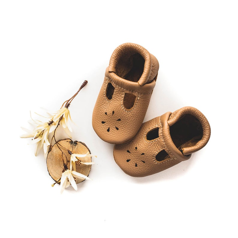 19f3d4de80086 Oat T-STRAPS Soft Soled Leather Shoes Baby and Toddler // Starry Knight  Design