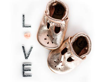 Rose gold T-STRAPS  Soft Soled Leather Shoes Baby and Toddler // Starry Knight Design