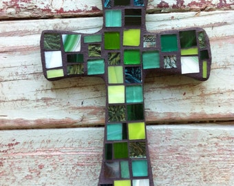 Small Green Mosaic Cross