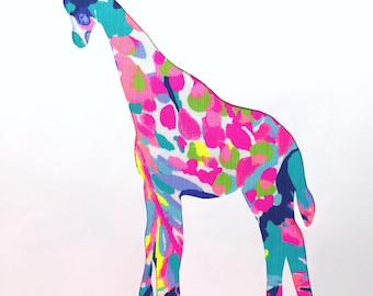New Made To Order custom Giraffe Pillow made with Lilly Pulitzer Gumbo Limbo fabric