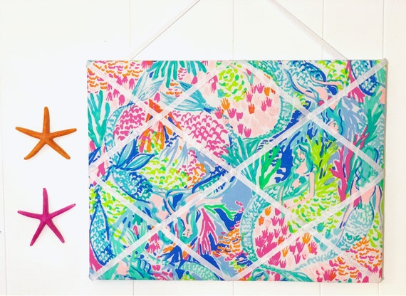 New Memo Board Made With Lilly Pulitzer Mermaid Cove Fabric Etsy Best Lilly Pulitzer Memo Board