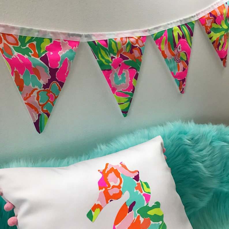 Charmant Custom Flag Banner, Bunting Made With Lilly Pulitzer Multi Lulu Fabric