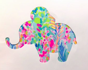 Mew made to order Elephant Pillow made with Lilly Pulitzer Multi Catch the Wave fabric