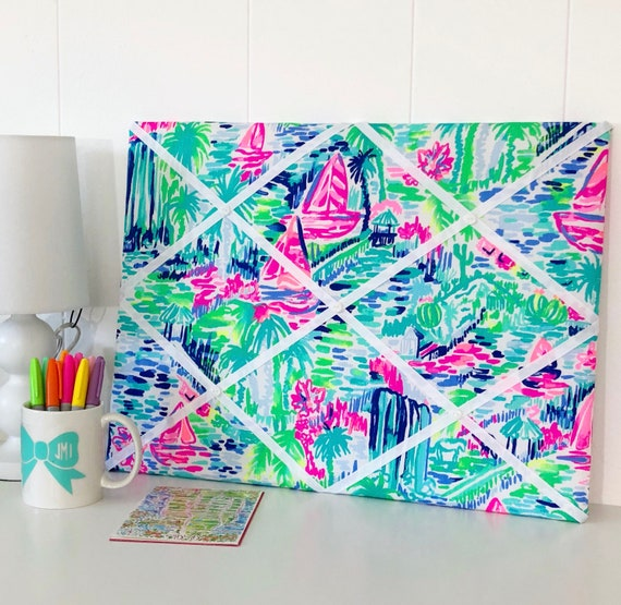 New Memo Board Made With Lilly Pulitzer Multi Salt In The Air Etsy Unique Lilly Pulitzer Memo Board