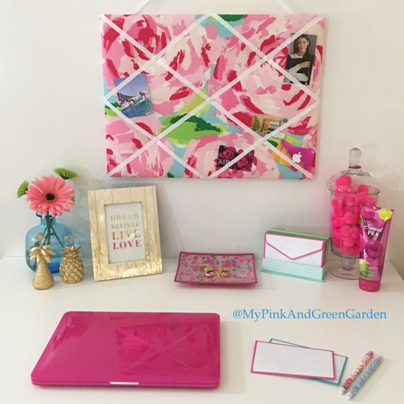 New Memo Board Made With Lilly Pulitzer Hotty Pink First Etsy New Lilly Pulitzer Memo Board