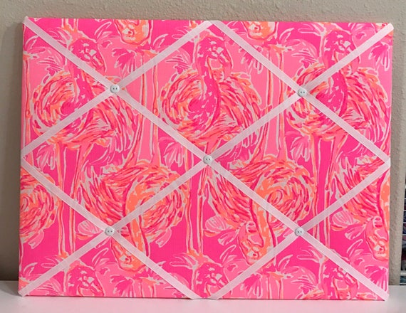 New Memo Board Made With Lilly Pulitzer Pink Tappin It Back Etsy Beauteous Lilly Pulitzer Memo Board