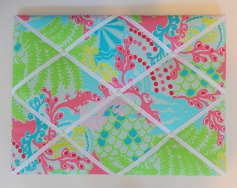 New memo board made with Lilly Pulitzer Blue Checking In fabric