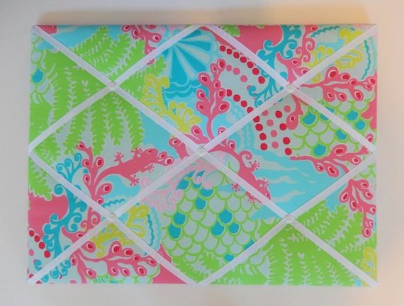 New Memo Board Made With Lilly Pulitzer Blue Checking In Etsy Mesmerizing Lilly Pulitzer Memo Board