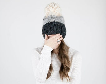 Knit Hat, Ombré Slouchy Hat With Pom Pom / THE BRECK / Fisherman Grey Marble Charcoal Grey