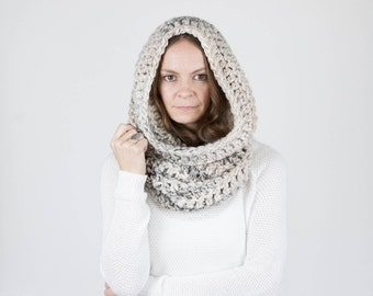 Chunky Cowl Scarf Shawl Hood Thermal / THE TOK / Snow Leopard