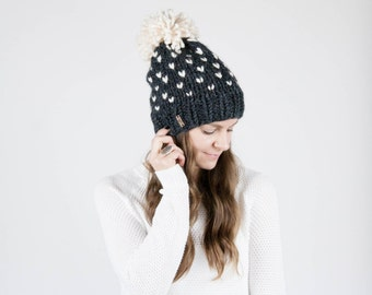 Fair Isle Knit Hat, Slouchy Winter Hat With Pom Pom, Ski Hat / THE ALPINE / Charcoal Grey and Fisherman