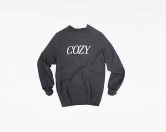 Cozy Lettering Charcoal Heather Crewneck Sweatshirt - COZY