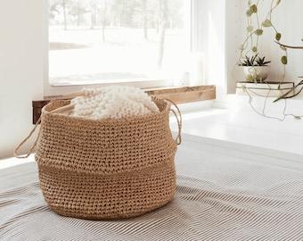 Crochet Pattern - Raffia Crochet Belly Basket, Raffia Basket, Nursery Room Organization, Home Decor - The Selawik Raffia Basket