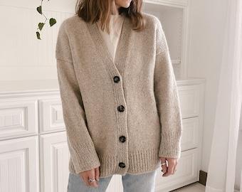 Knitting Pattern - Knit Sweater Cardigan, Classic Knitting Pattern, Knit Cardigan Pattern - Field Day Jacket