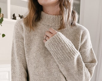 Knitting Pattern - Knit Sweater, Classic Knitting Pattern, Pattern for Sweater, Bottom Up Sweater, Worsted Weight - The Towns Sweater