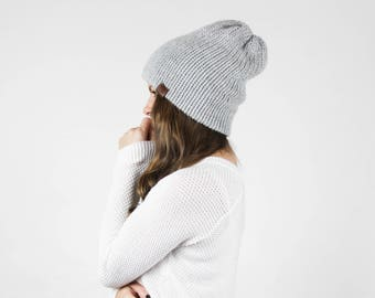 Knit Slouchy Hat, Double Layer Beanie, Thick Layered Winter Beanie / THE CAMPFIRE BEANIE / Chilly Grey