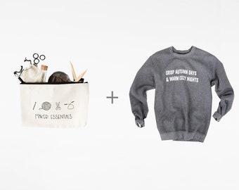 Maker Essentials Cozy Bundle - Knitting Pouch, Lettering Grey Sweatshirt - Crisp Autumn Days & Warm Cozy Nights and Makers Essentials Pouch