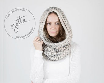 Crochet Pattern - Chunky Cowl Scarf, Tube Cowl, Shawl Hood - The Tok Cowl