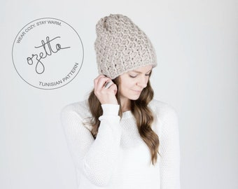 Tunisian Crochet Pattern - Honeycomb Textured Winter Hat - The Holocene Hat