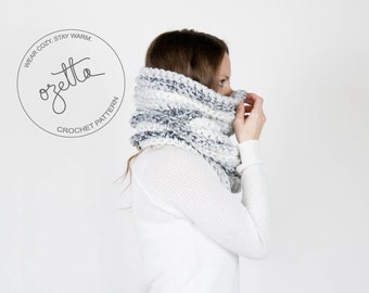 Crochet Pattern - Chunky Textured Ribbed Cowl, Tube Scarf - The Noorvik Cowl