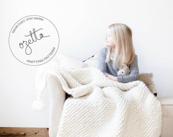 Knitting Pattern - Baby Blanket, Chunky Wool Throw, Toddler Afghan, With Tassels - The Little Durango Blanket