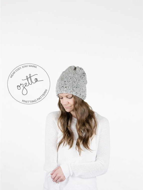 Knitting Pattern Simple Knit Slouchy Hat The Northwood Hat   Etsy