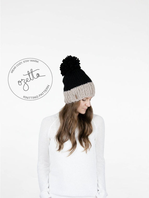 Knitting Pattern Two-Tone Knit Hat With Pom Pom The Sylvan  99c528f970e